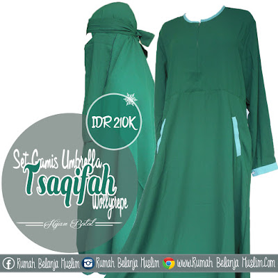Set Gamis Semi Umbrella Wollycrepe Hijau Botol