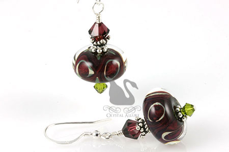 Cherries Garcia Crystal Lampwork Beaded Earrings (EL247)