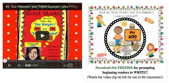 "FREE Secret Stories® Phonics Writing Strategy Pack—""Zoo Keeper and M&M Quizzes"""