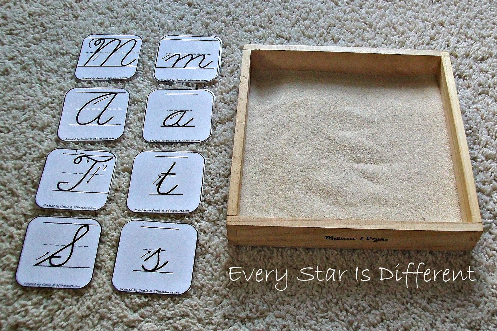Cursive Letter Sand Tray Activity for Kids