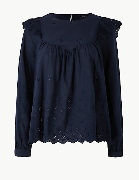 marks and spencer pure cotton embroidered long sleeve blouse