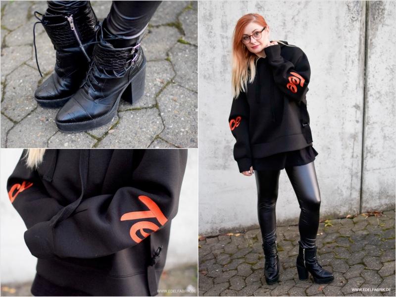 modischer, schwarzer Kapuzen Pullover für Frauen