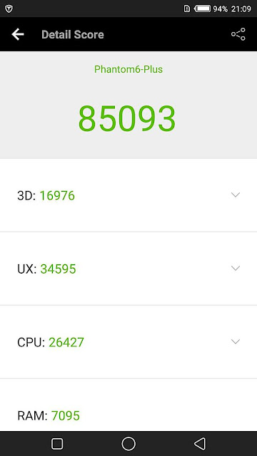 Phantom 6 Plus Antutu Benchmark Score