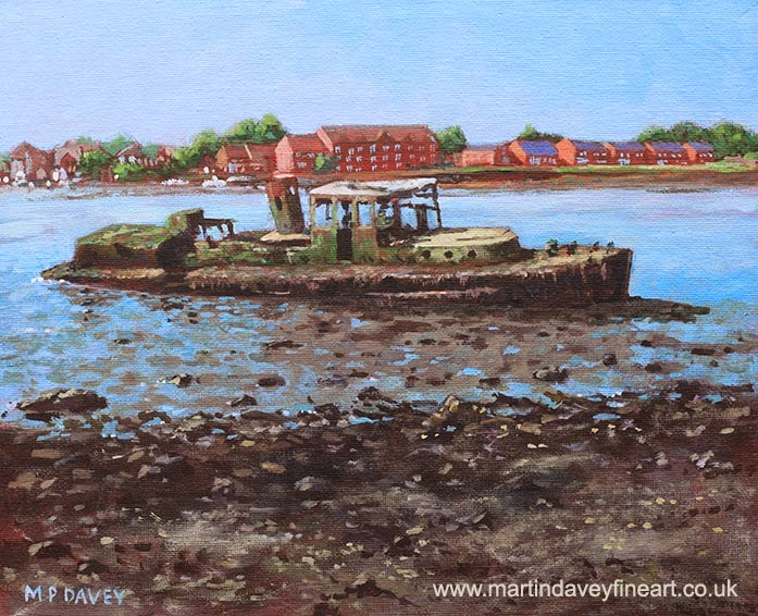Boat wreck at Bitterne Manor Park-acrylic painting M P Davey