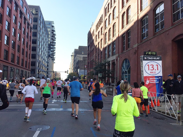 Chicago Marathon 2016 13.1 mile marker
