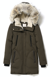mid length down coat with Sherpa lined hood