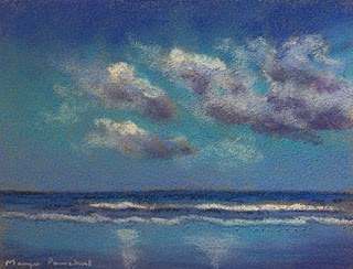 A Soft pastel painting of cloudy day at Colva beach from Goa by Manju Panchal