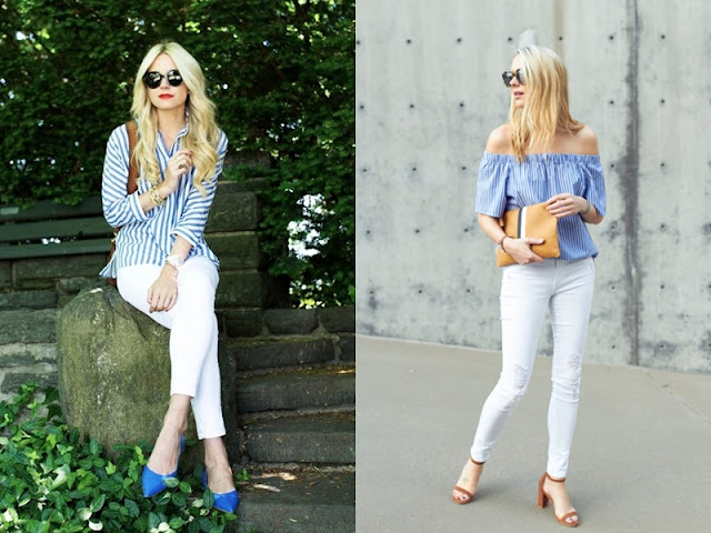 look camisa listrada azul e branca e calça branca