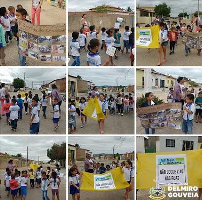 Alunos da rede municipal de ensino de  Delmiro Gouveia buscam sensibilizar a população com cuidados ambientais com o lixo