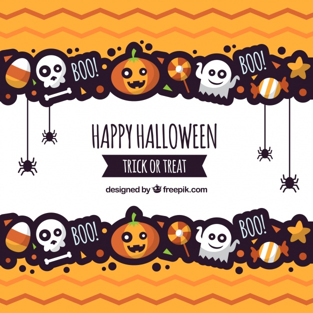 Halloween background with fun style Free Vector