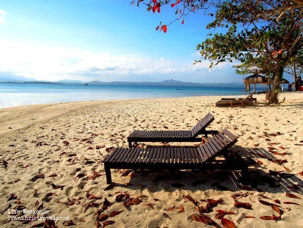 Beach benches at Dos Palmas Island Resort and Spa