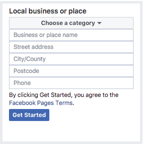 register business page on Facebok