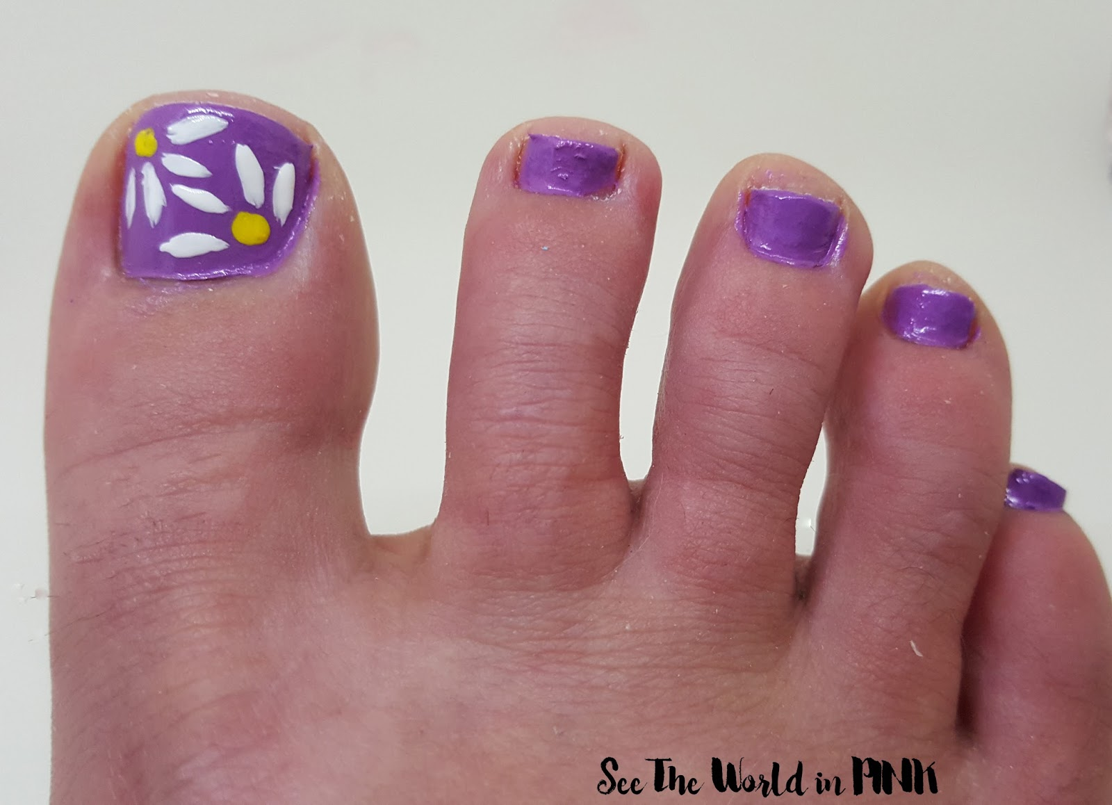 purple daisy nail art toes pedicure