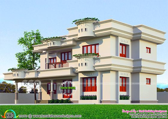 Decorative 4 BHK 2441 square feet home design