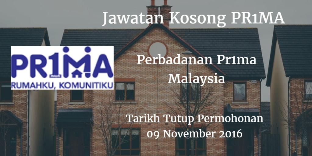 Jawatan Kosong PR1MA 09 November 2016