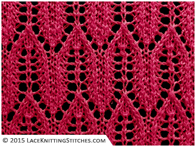 LACE KNITTING No.13 | Arrow stitch pattern. Multiple of 8 sts, + 1 and 16-row repeat