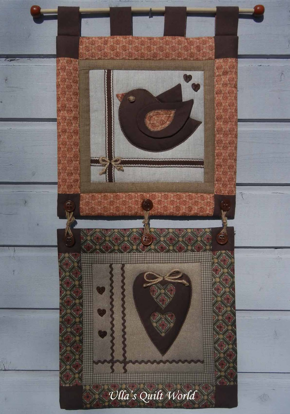 Ulla S Quilt World Wall Hanging Quilt Heart And Bird