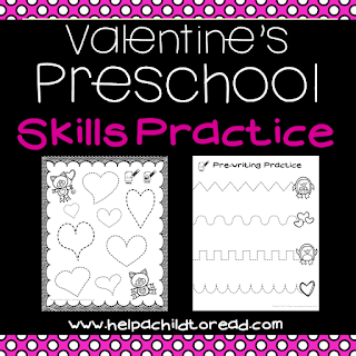 Valentine's cutting, gluing, pre-writing practice