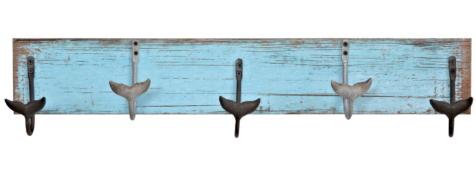 Whale Tail Hook Blue Wood Wall Rack