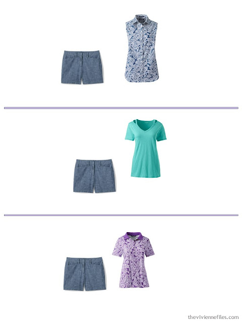 3 ways to wear chambray shorts from a spring and summer travel capsule wardrobe