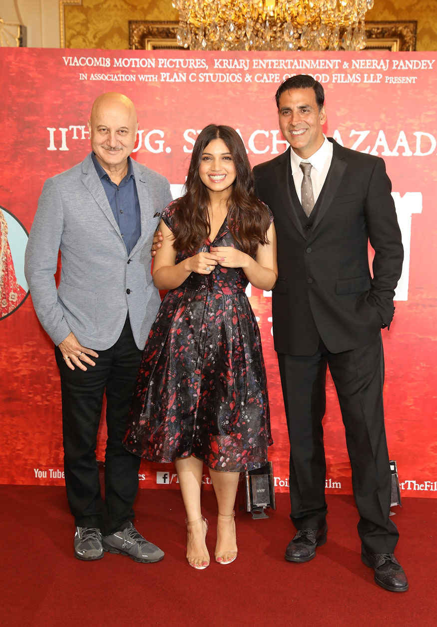 Bhumi Pednekar and Akshay Kumar attending the Toilet: Ek Prem Katha at The Bentley Hotel
