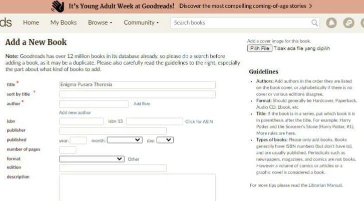 Data-data di Goodreads