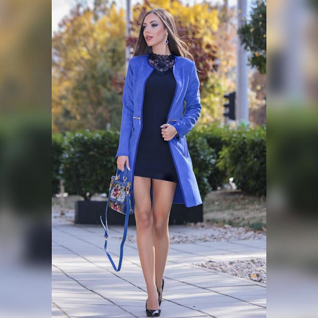Γυναικείο μπλε πανωφόρι ADRIN BLUE