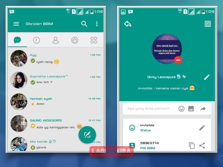 Download BBM Mod Teal Green Reborn versi 3.2.0.6 Apk Terbaru Gratis