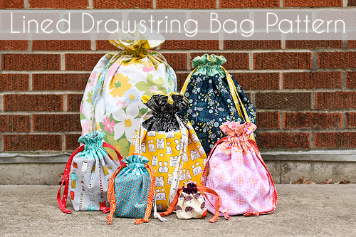 Lined Drawstring Bag Pattern - In Color Order