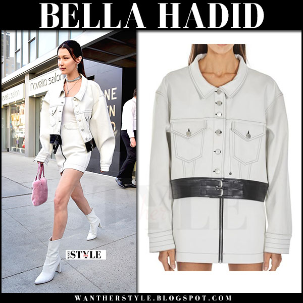 Bella Hadid in white alyx denim jacket, white mini skirt with white boots stuart weitzman clinger