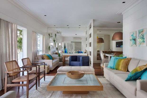 Apartamento decorado em turquesa Morar Mais por Menos RJ. Blog Achados de Decoração