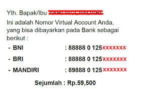 solusi jika nomor virtual account belum dikirim via sms