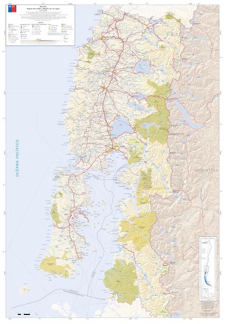 Mapa rodoviário do Centro Sul do Chile - região dos Lagos e dos Rios