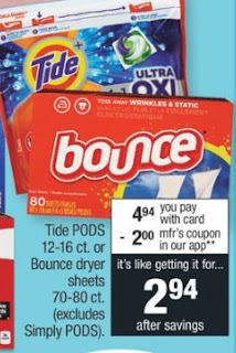 Tide Pods or bounce cvs deals 5-12-5-18