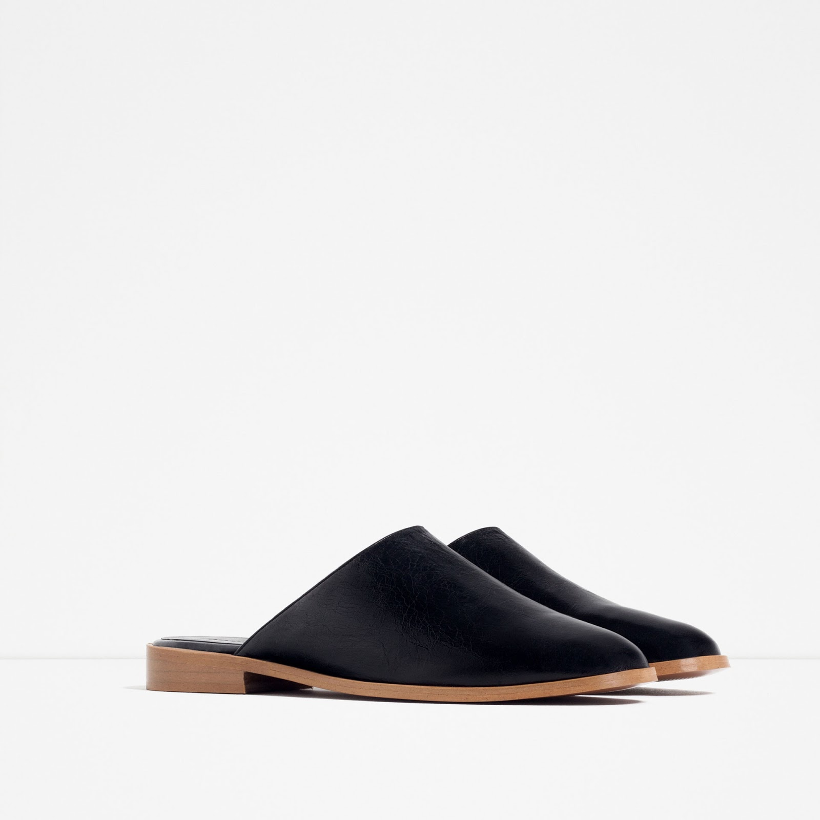 leather slide on shoes from Zara
