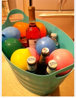 How Clever...Freeze water in balloons & use to cool drinks for parties, colorful & no messy water!