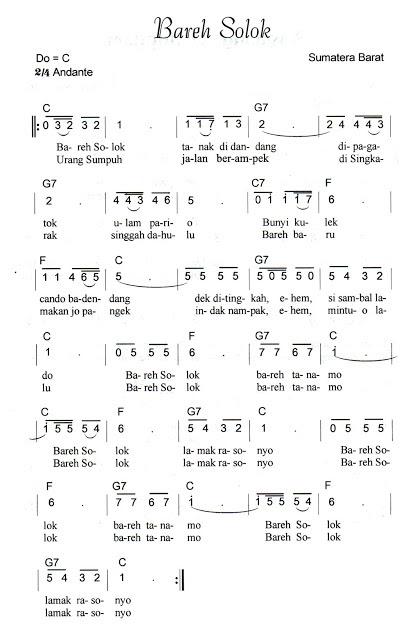 Not Angka Pianika Lagu Bareh Solok (Sumatera Barat)