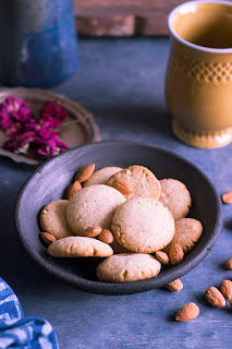 eggless almond cookies, badam biscuits