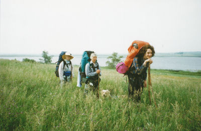 hikers on prairie