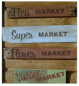 A Vintage Green Four Market Signs