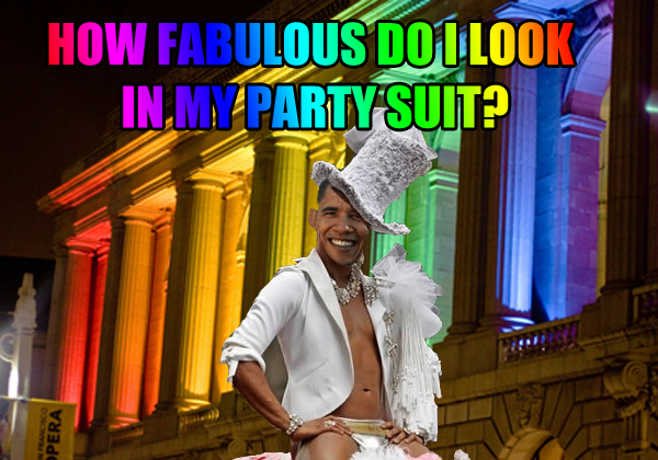 funny pic Obama gay, white house rainbow color