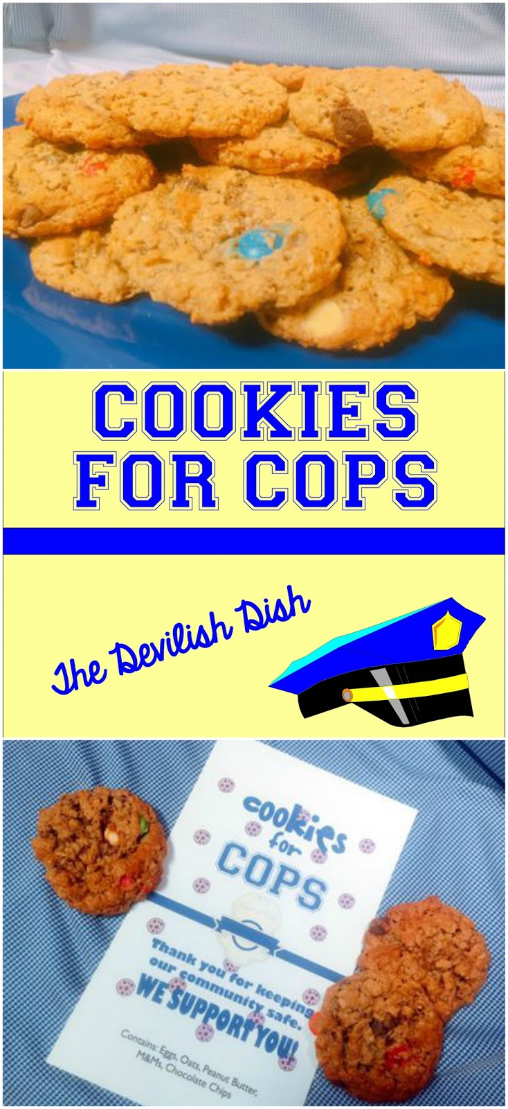 The Devilish Dish: Cookies for Cops {With LARGE BATCH Dishpan Cookies}