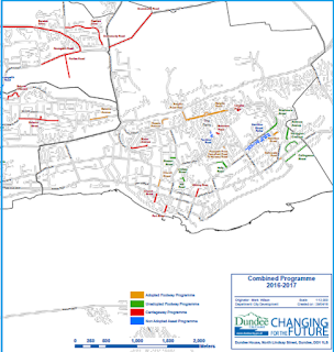 Map of the The Ferry Ward 8 Dundee, which indicates location for planned improvements to roads and footways.