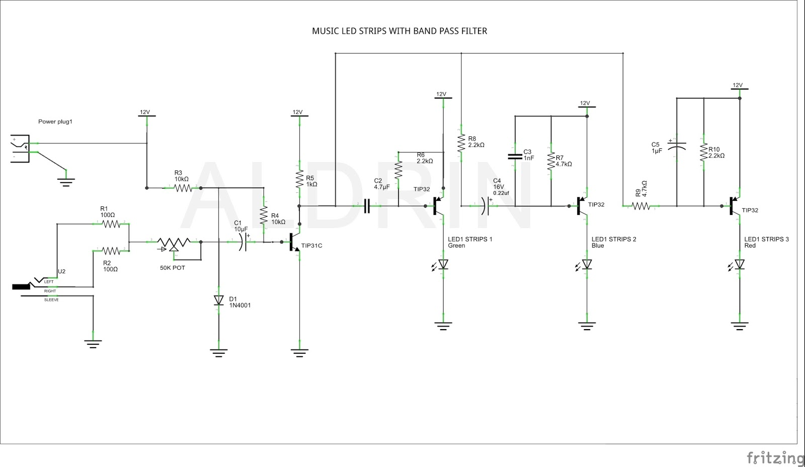 Music Led With Band Pass Filter Using Led Strips