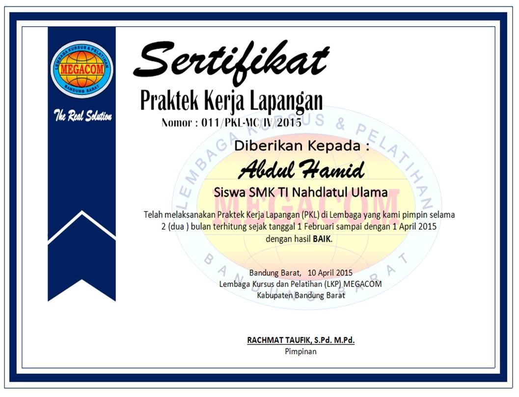 Contoh Sertifikat Prakerin Pkl Lembaga Kursus Dan Pelatihan Lkp