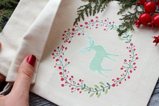 Тканевый мешочек с рождественским принтом