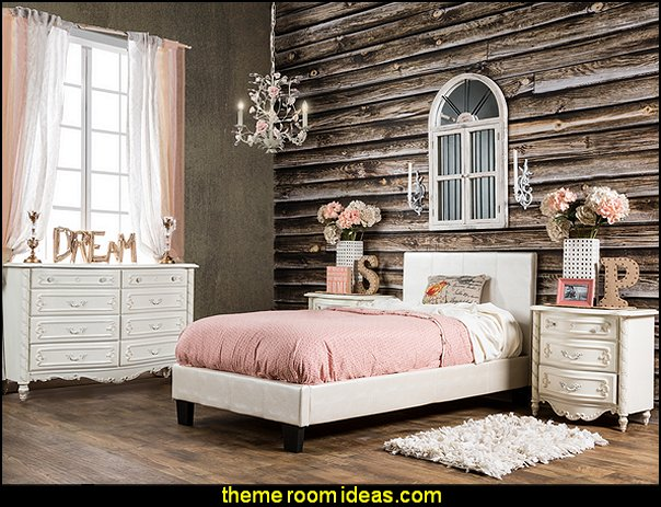 girls bedroom furniture Pearl White Crocodile Leatherette Platform Bed