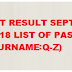 Teachers Board Exam Result September 2018(LET) Elementary Level - ( Surname Q-Z)