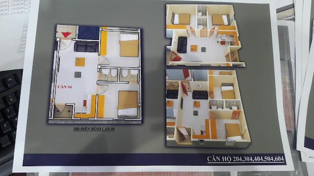 Mặt bằng căn hộ trục số 4 chung cư mini Vĩnh Phúc