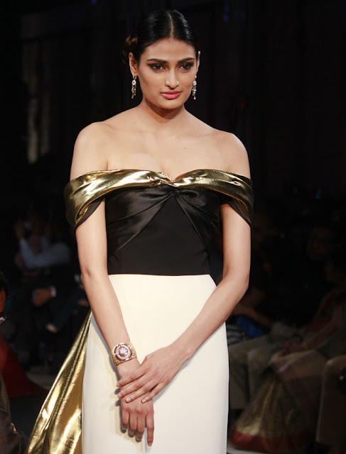 Athiya Shetty Dazzled in Off Shoulder Monochrome Designer Gown
